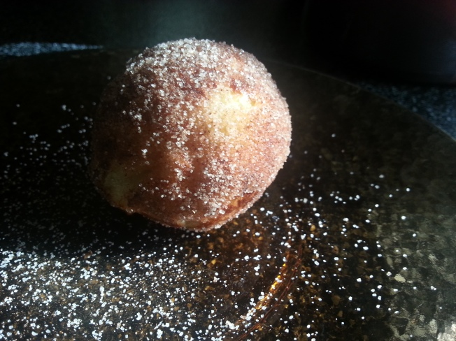 The best of the experiment—brushed with melted butter and rolled in cinnamon and sugar. Donut holes without the grease.